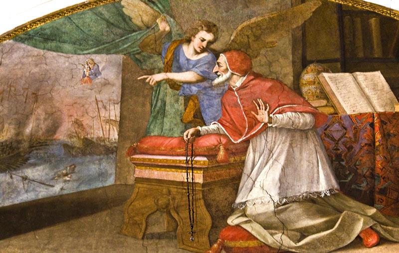 Pio V en la batalla de Lepanto